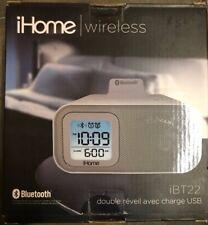 NEW - iHome iBT22 Wireless Dual Bluetooth Alarm Clock iPhone iPod *FAST SHIPPING