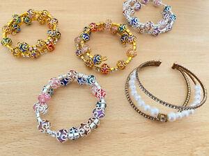 Indian Pakistani Girls Jewellery PARTY WEDDING Bangles Beads Set Adjustable