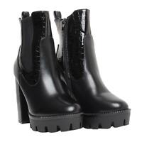 New Ladies Women Chelsea Ankle Block High Heels Chunky Boots Shoes Size 3-8