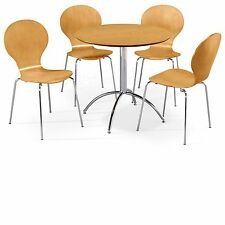 Dining Set Round Natural Table and 4 Natural Chairs Chrome Keeler Kitchen Cafe