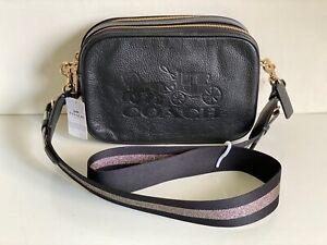 NEW! COACH BLACK PEBBLED LEATHER JES CROSSBODY SLING MESSENGER BAG PURSE $328