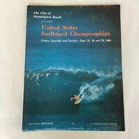 Vintage 1968 United States Surfboard Championships at Huntington Beach Program