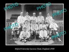 OLD LARGE HISTORIC PHOTO OF THE OXFORD UNIVERSITY LACROSSE TEAM, ENGLAND c1910