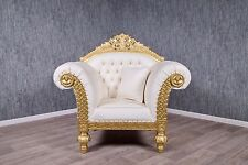 Barock Sessel Antik Massiv Empire weiß Gold Prunksessel Thronstuhl Vintage Art