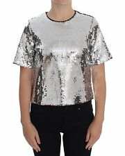 NEW $880 DOLCE & GABBANA Blouse T-shirt Top Silver Sequined Crewneck IT44/US10/L