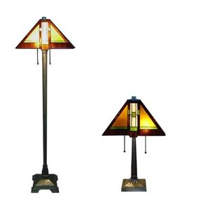 """Tiffany Style Mission Lamp Set Handcrafted 16"""" Shade"""