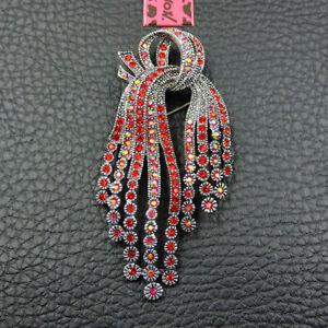 Red Crystal Rhinestone Bowknot Betsey Johnson Charm Woman's Brooch Pin Gift