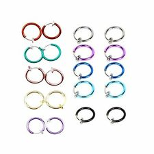 Ring Hoop Clip On, 10 Pairs Non-Piercing Fake Spring Septum Nose, Lips, Ear
