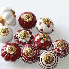 Möbelknopf Möbelgriff Möbelknöpfe Keramik Möbelknäufe Bordeaux Rot Weiß zw