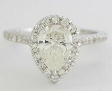 1.25 ct 14K White Gold Pear Brilliant Cut Diamond Halo Engagement Ring GIA