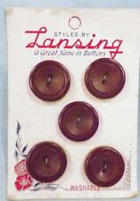 10 Chocolate Brown Plastic Buttons on Card Shirt Lansing 2 Cards Vintage Clothes