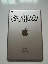 Apple iPad Mini Personalised Name Sticker Crash Font Tablet Vinyl Decal
