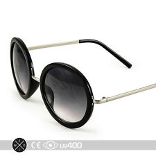 Black Silver Vintage Inspired Retro Steampunk Round Circle Sunglasses  S065