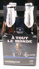 MEGADETH A TOUT LE MONDE UNIBROUE 4 EMPTY BEER BOTTLES WITH CARRY CASE AND TOPS