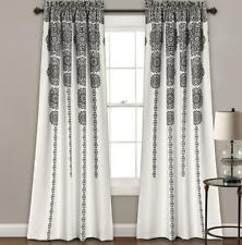 "Black White Modern Crest Stripe Geometric Drapes Curtains Set of 2 Panels 84"" L"