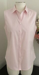 Brooks Brothers 346 PINK Sleeveless Fitted Non-Iron Cotton Blouse Top Shirt 10