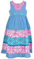 Vestidos de niña de 2 a 16 años azul 100% algodón sin mangas