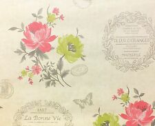French, Shabby Chic Inspired Wallpaper With Flowers & Butterflies (Holden Decor)