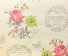 Francese, shabby chic Ispirato Carta Da Parati con Fiori & Farfalle (Holden Decor)