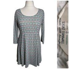 T Damen Himalayabauml Tunika Top Kleid Größe 14 blau Jersey 3/4 Ärmel Arbeit
