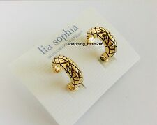 "Lia Sophia ""Beaten Path"" Gold Tone Clip Earrings"