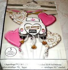Anagram JUST MARRIED! OUR WEDDING DAY Foil Balloon Bouquet 5 Balloons