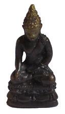 Figurine miniature Bouddha assis bronze vieillis décoration bouddhiste