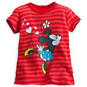 Disney Shirt for Girls - Minnie and Mickey Tee Hearts and Glitter, Red, Sz S 5/6