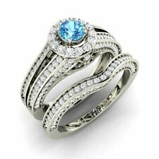 Certified 1.43 Cts Blue Topaz and SI Diamond 14k White Gold Halo Bridal Ring Set