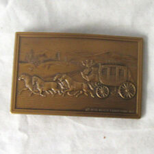Vintage Wells Fargo  Bank Brass  Belt Buckle Stage Coach