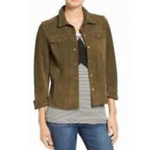 NWT $988 Sz 1 Small CURRENT ELLIOTT The Mechanic Suede Snap Jacket Army Green