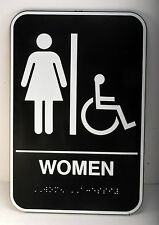 Womans Restroom Sign 9x6 Toilet Bathroom Ladies Room Wash Room Handicapped Brail