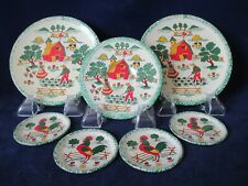 Vintage Painted Tin Childs Toy Tea Rooster Farmer Play Dishes Plates Unmarked 7