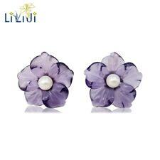 925 Sterling Silver Amethyst Crystal Flowers Freshwater Pearl Stud Earring