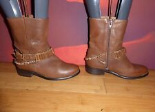 *1* SUPERB RIVER ISLAND BROWN LEATHER  ANKLE CHAIN BOOTS UK 3 EU 36