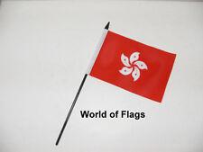 """HONG KONG SMALL HAND WAVING FLAG 6"""" x 4"""" Asia Asian  Crafts Table Desk Display"""