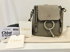 Genuine Chloe Faye Leather Bag Handbag Mini Tote Backpack Motty Grey