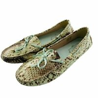 Ted Baker London Penelopy Driving Moccasin Loafer Mint Green Snakeskin, Size 7