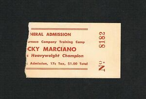 VERY RARE Rocky Marciano boxing ticket Holland Furnace Training Camp Michigan