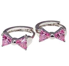 18k Pierced Knot Bow Bowknot Art Earrings Pairs Hoop Jewelry Cubic Zirconia Pink