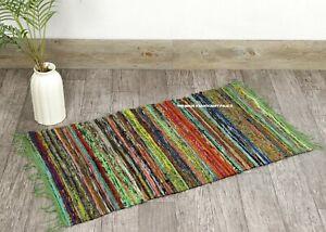 Indian Handmade Chindi Rug living Room Floor Rag Rug Yoga Mat Vintage 2x3' ft