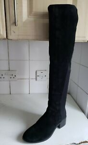 STACCATO BLACK LEATHER SUEDE ELASTIC FLAT KNEE HIGH WINTER BOOTS UK 4 EU 37