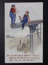 """Workman at end of Girder HICCUPS! """"TRY TO PUSH ME OFF BILL"""" c1930 J.Salmon 3726"""