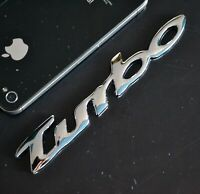 AU TURBO 3D Metal Sliver Chrome Car Badge Emblem Sticker Sport Black 4WD 13cm