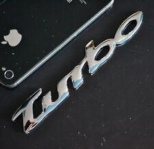 AU TURBO 3D Metal Sliver Chrome Car Badge Emblem Sticker Sport Black 4WD 13cm