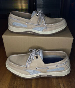 Sebago Clovehitch II Men's Boat Shoes Taupe Brown Size 10.5