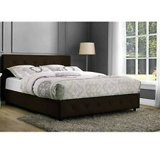 Queen Size Bedroom Set Brown Bed Furniture Leather 2 Nightstand Tables 3 Piece