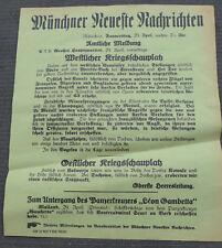 1. WK Plakat Tagesaufruf Aufmacher Münchner Zeitung Versenkung Panzerkreuzer, Ko