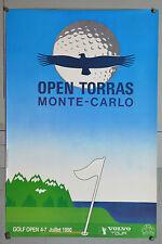 AFFICHE ANCIENNE ORIGINALE - GOLF OPEN TORRAS - MONTE CARLO - JUILLET 1990-