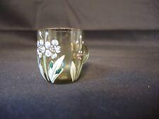 petite chope emaillée verre gauffré vert décor floral dinette poupée liqueur